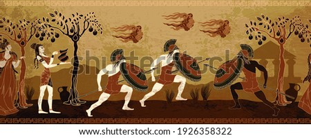 Ancient Greece battle scene. Horizontal seamless pattern. Greek vase painting concept. Spartan warriors. Meander circle style. Red figure techniques. Mythology and legends