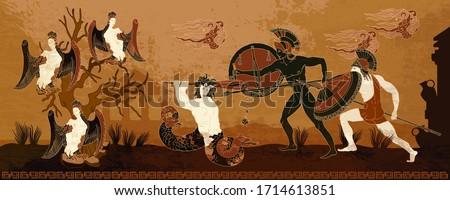 Ancient Greece. Black figure pottery style. Hero Hercules, harpy, Medusa gorgon. Warriors. Legends and mythology art. History and culture scene. Ancient Greek scene