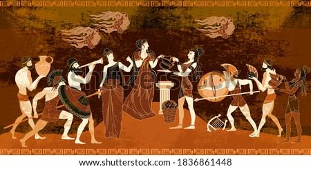Ancient Greece frescos. Ancient Crete. Knossos murals mythology. Minoan civilization concept