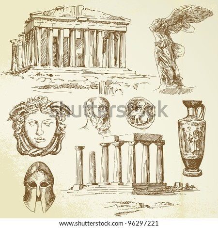 ancient greece   hand drawn set