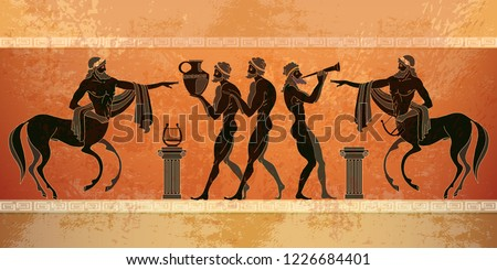 Ancient Greece mythology.. Black figure pottery. Centaur, people, gods of an Olympus. Classical Ancient Greek style
