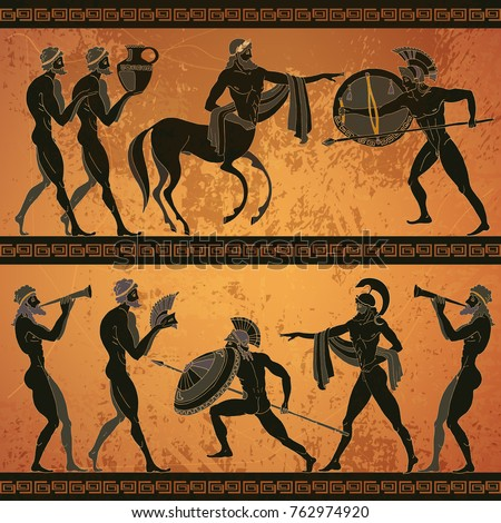 Ancient Greece scene banner. Black figure pottery. Ancient Greek mythology. Centaur, people, gods of an Olympus