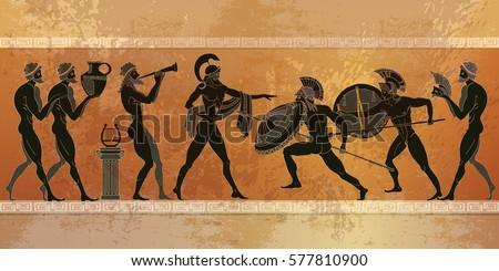 Ancient Greece scene. Black figure pottery. Ancient Greek mythology. Ancient warriors Sparta people, gods. Classical style