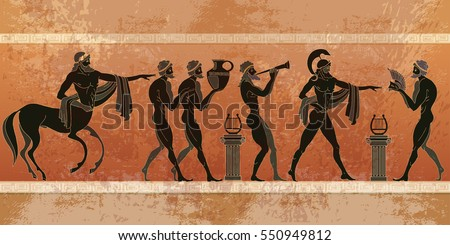 Ancient Greece scene. Black figure pottery. Ancient Greek mythology. Centaur, people, gods of an Olympus. Classical Ancient Greek style