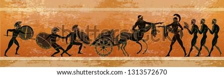 Ancient Greece scene. Black figure pottery. Warriors Sparta people, gods. Greek mythology