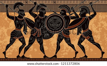 Ancient greece warrior.Black figure pottery.Ancient greek scene banner.Hero,spartan,myth.Ancient civilization culture.