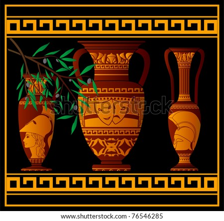 ancient greek amphora and jugs. vector illustration - stock vector