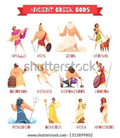 Ancient greek gods 12 strip cartoon figures set with zeus poseidon hera hermes athena isolated vector illustration
