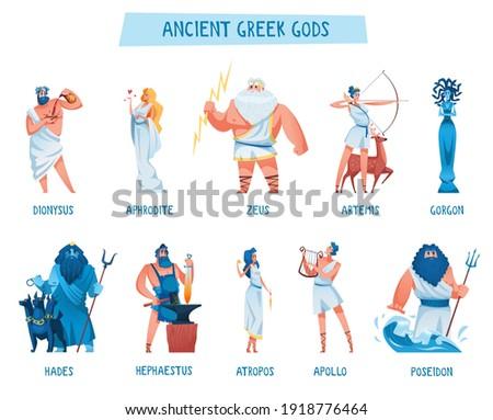 Ancient greek gods. The mythological deities of Olympia. Aphrodite, apollo, artemis, atropos, dionysus, gorgon, hades, hephaestus, poseidon, zeus. Vector illustration.