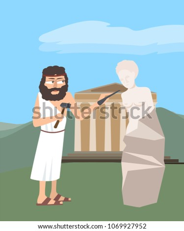 ancient greek sculptor at work