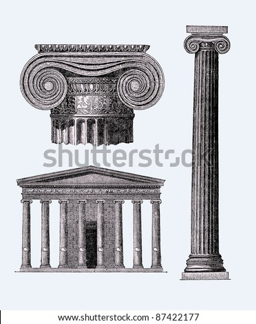 Ancient Greek temple illustration, Source image, The Life of the Greeks and Romans by E.Guhl, published 1876