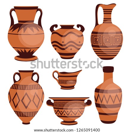 Ancient greek vases. Ancient decorative pots isolated on white background, old antique clay greece pottery ceramic bowls vector illustration.