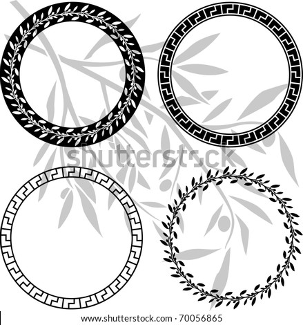 ancient hellenic patterns in rings. stencils. vector illustration