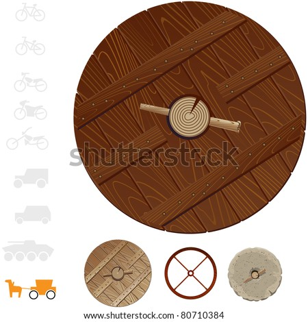 Ancient horse drawn carriage wheels. In vector