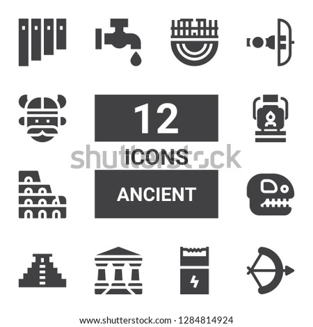 ancient icon set. Collection of 12 filled ancient icons included Arch, Gun, Parthenon, Teotihuacan, Fossil, Colosseum, Oil lamp, Faucet, Crossbow, Viking, Panpipe, Merida