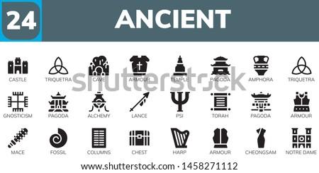 ancient icon set. 24 filled ancient icons.  Simple modern icons about  - Castle, Triquetra, Cave, Armour, Temple, Pagoda, Amphora, Gnosticism, Alchemy, Lance, Psi, Torah, Mace