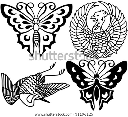 stock vector : Ancient Japanese tattoo, birds, butterflies. Look more tattoo