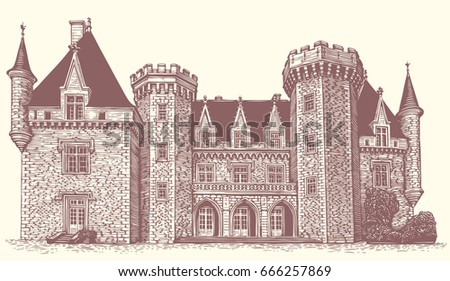 Ancient manor house. Hand drawn engraving. Vector vintage illustration. Isolated on white background. 8 EPS