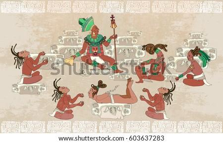 Shutterstock Ancient Maya, Aztec Inca. Traditional Mayan frescoes. Sacrifices scene. Ancient Maya in traditional suits. Murals ancient Mayan art