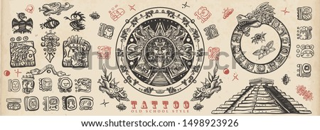 Ancient Maya Civilization. Old school tattoo collection. Mayan, Aztecs, Incas. Sun stone, pyramids, glyphs, Kukulkan. Ancient mexican mesoamerican culture. Vintage traditional tattooing style