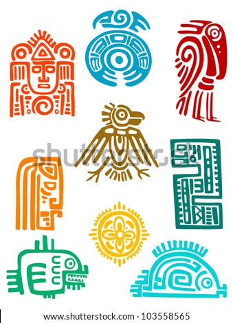 Ancient maya elements and symbols set of religious design. Vector illustration