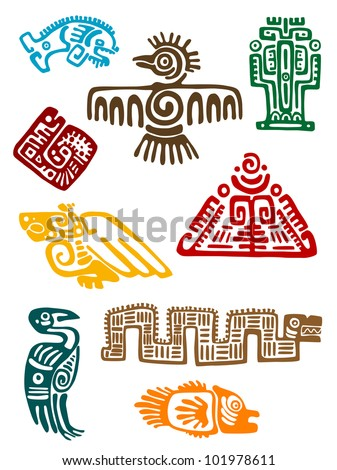 Ancient maya monsters set of religious design. Vector illustation