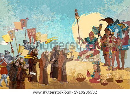 Ancient Mayan. Mural Painting. Old frescos. Historical background. Ancient mexican mesoamerican history. Conquistadors and Aztec and Inca people. Pyramid and tribe. Maya art. Conquest of America Stockfoto ©