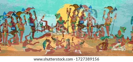 Ancient Mayan. Mural Painting. Seamless pattern. Old frescos style. Conquistadors and Aztec and Inca people. Pyramid and tribe. Maya background. Historical art. Ancient mexican history Stockfoto ©