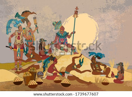 Ancient Mayan. Mural Painting. Seamless pattern. Old frescos style. Inca people. Pyramid and tribe. Maya background. Historical art. Ancient mexican history Stockfoto ©