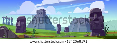 Ancient mayan pyramids and moai statues on Easter island. Vector cartoon landscape with south american landmarks, Chichen Itza and Kukulkan temples, stone sculpture on green grass