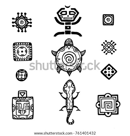 Ancient mexican vector mythology symbols. american aztec, mayan culture native totem patterns. Aztec and mexican tattoo, illustration of mayan symbol tattoo. For your design.