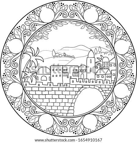 Ancient middle eastern city outline black on transparent background drawing, with pomegranates ornament motifs frame .  Use for travel blogs,post cards, religious events, history illustrations
