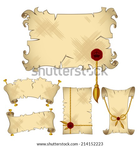 Ancient old parchment scroll banners with gold royal details,isolated on the white background