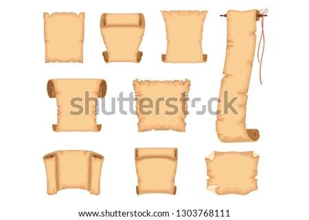 Ancient paper scrolls set, ancient parchments vector Illustrations on a white background