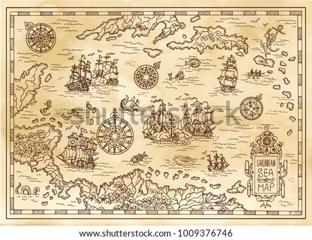 ancient pirate map of the