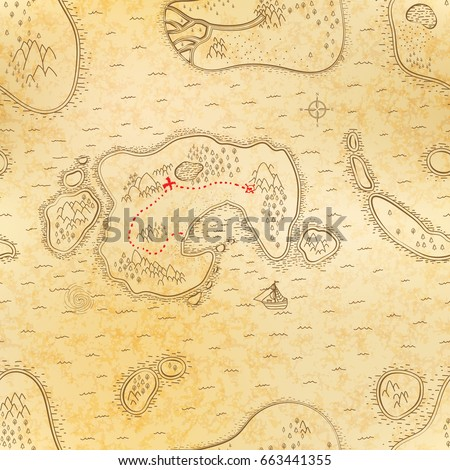 Ancient pirate map on old textured paper with red path to treasure, seamless pattern