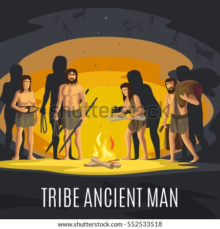 Ancient prehistoric stone age concept. Tribe ancient man making fire in cave vector illustration.