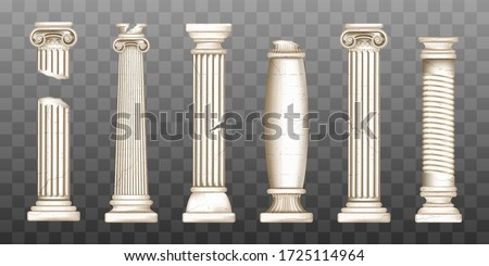 Ancient roman columns, marble baroque architecture. Vector realistic old broken antique greek pillars with capitals in doric, corinthian, ionic and tuscan style isolated on transparent background Photo stock ©