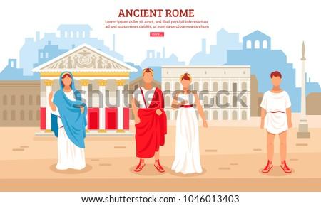 ancient rome flat composition