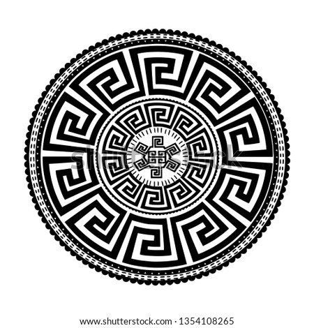 Ancient round ornament. Vector isolated black meander pattern on the white background. Antique mandala with greek key ornaments. Ornamental design. Graphic decor. Geometric abstract ornate texture