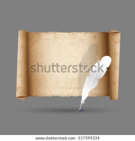 Ancient scroll paper with feather. Vector EPS10
