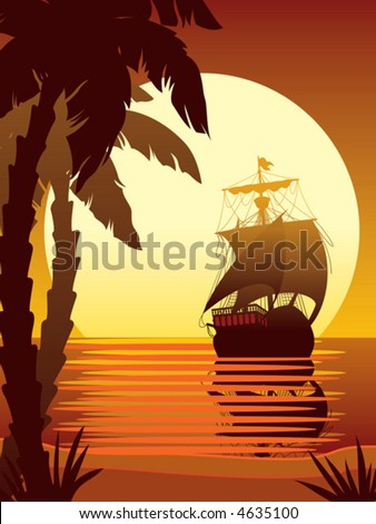 Ancient ship sailing, vector