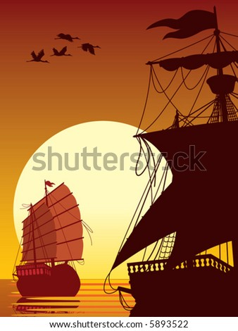 Ancient ships sailing into the sunset, vector