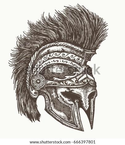 ancient spartan helmet hand...