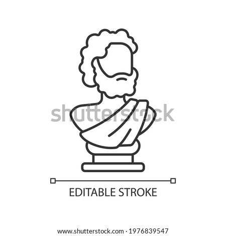 Ancient statue linear icon. Art history. Ancient greek sculpture. Sculpted philosopher bust. Thin line customizable illustration. Contour symbol. Vector isolated outline drawing. Editable stroke Zdjęcia stock ©