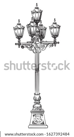 Ancient street lamp in classic style with twisted decorative elements. Vector hand drawing illustration in black color isolated on white background