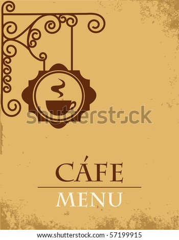 Ancient street signboard coffee house