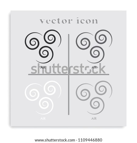 Ancient symbol of Air element with subscribe flat black and white vector icon.