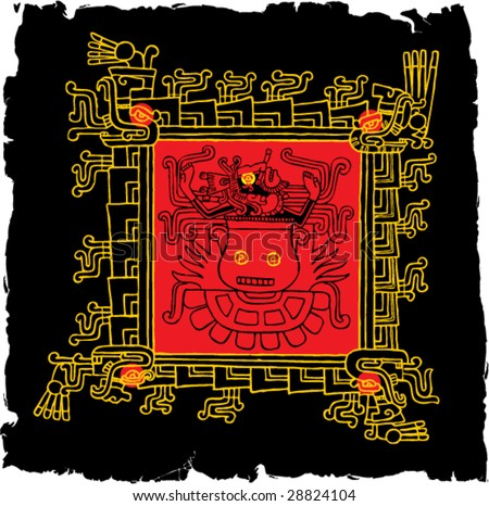 Ancient symbols of Mayan Indians Grunge Illustration - stock vector