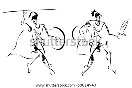 Ancient warriors, stylized sketch of